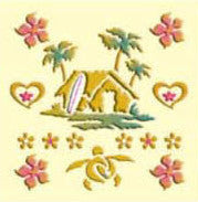 gold makie hawaiian surf shack with flowers decal