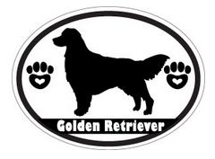 black and white golden retriever silhouette decal
