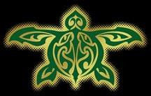 green and gold tribal turtle