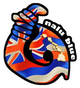 Hawaiian flag in the shape of a fish hook decal