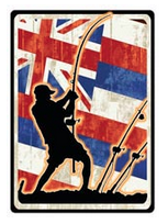 polebender fisherman silhouette with hawaiian flag background decal