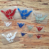 red white blue shaka decals