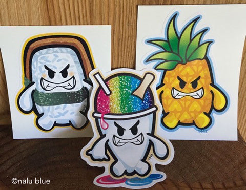 hangry musubi shave ice pineapple decals