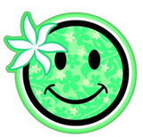 happy face with light green floral pattern and flower decal