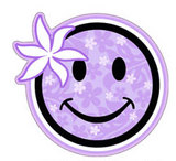 happy face with purple floral pattern and flower decal