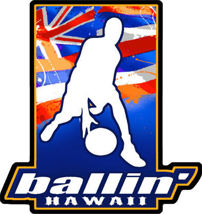"basketball player dribbling silhouette with hawaiian flag background and ""ballin' HAWAII"""