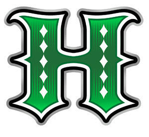 Green H outlined with white, black, and silver