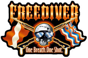 "red tribal font ""FREEDIVER"" with a skull and cross spearguns, hawaiian flag, dive flag, and ""one breath. one shot"""