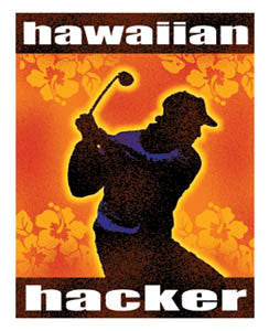 """hawaiian hacker"" with golfer swinging silhouette and orange hibiscus pattern background"