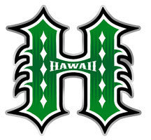 Tribal Green Hawaii H outlined with white, black, and silver
