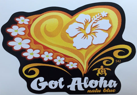 yellow orange heart with flowers and got aloha