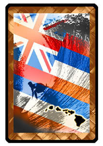 hawaiian flag and surfer riding wave double exposure decal