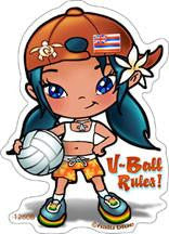 girl holding volleyball decal