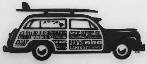 black woody car with surfboard and hawaii surf spots