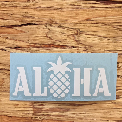 white aloha pineapple decal