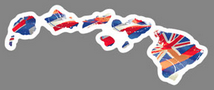 Hawaiian Islands with Hawaiian Flag Inset and white outline decal