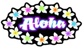 aloha rainbow plumeria decal