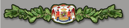 hawaiian coat of arms with maile lei on either side
