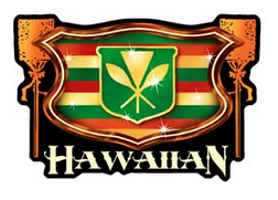 red yellow green Hawaiian flag crest with kahilis decal