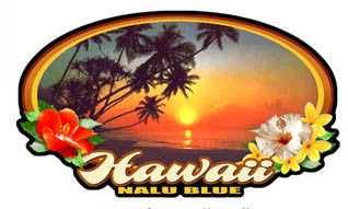 "oval picture of orange beach sunset with flowers and ""hawaii"" script decal"