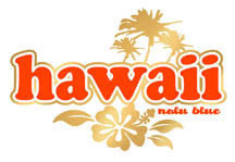 "red ""hawaii"" with gold coconut tree and hibiscus background decal"