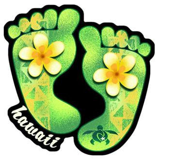 green hawaiian plumeria footprint decal
