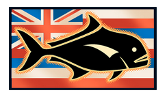 Hawaiian flag with ulua silhouette overlay