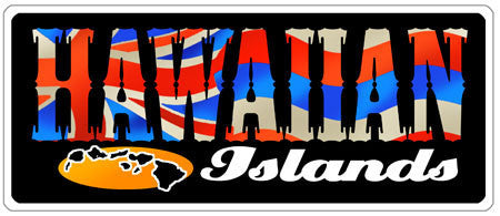 """HAWAIIAN"" with hawaiian flag fill and black background"