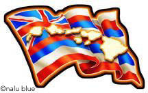 wavy hawaiian flag with hawaiian islands overlay