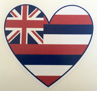 heart shaped hawaiian flag decal