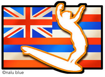 hawaiian flag surfer silhouette decal