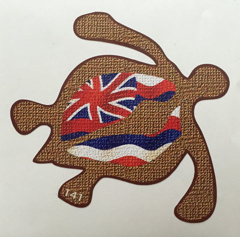 Petroglyph style honu (turtle) with hawaiian flag inset decal