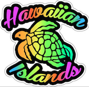 Hawaiian Islands Rainbow Turtle Decal