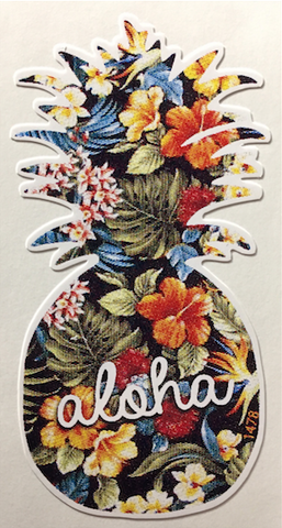 vintage hawaiian print pineapple with aloha