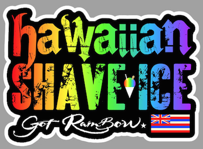 rainbow colored hawaiian SHAVE ICE text