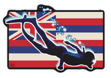 snorkler silhouette with hawaiian flag background
