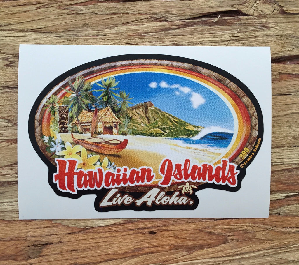 "idyllic hawaiian beach with diamond head and ""hawaiian islands live aloha"" text at bottom"