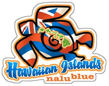 "hawaiian honu (turtle) with hawaiian flag fill and ""hawaiian islands nalu blue"" below"