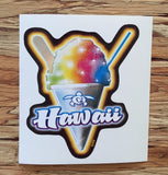 "rainbow shave ice in cone with ""Hawaii"" script overlay decal"
