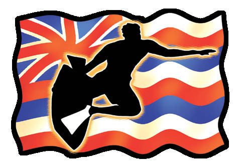 Wavy Hawaiian flag with body surfer silhouette overlay
