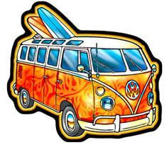 orange vw van with surfboards