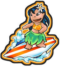 Hawaiian girl on surfboard decal