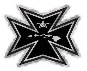 black and chrome tribal maltese decal