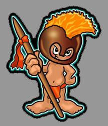 hawaiian warrior boy with spear and helmet