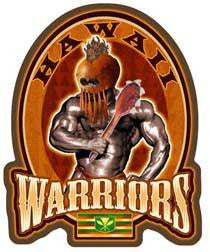 hawaiian warrior with club and helmet decal