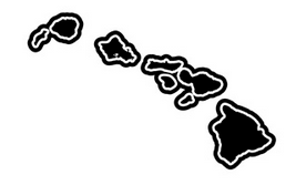 black hawaiian islands with outline
