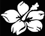 white die-cut hibiscus decal