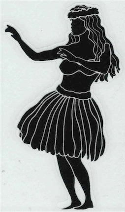 black silhouette hula dancer decal