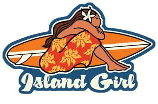 island girl with surfboard