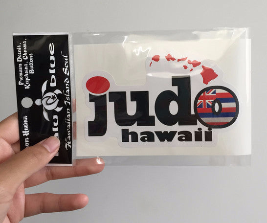 """judo hawaii"" with red hawaiian islands and hawaiian flag inside o decal"
